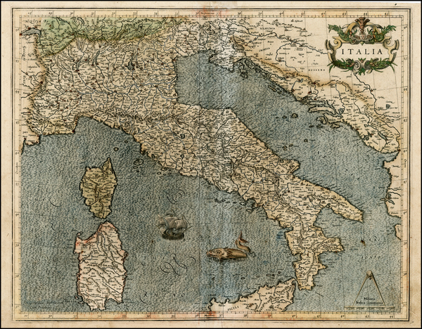 76-Italy Map By  Gerard Mercator