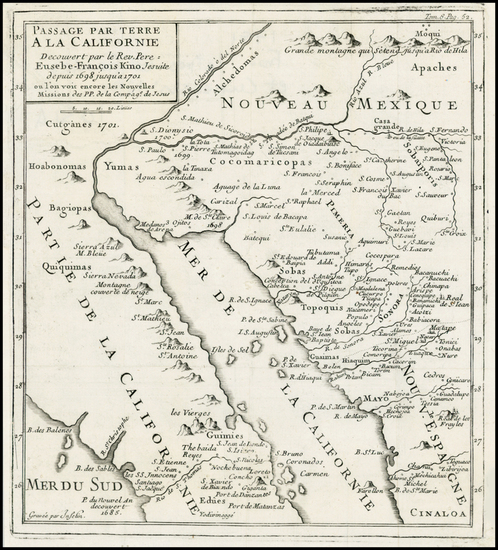 85-Southwest, Mexico, Baja California and California Map By Fr. Eusebio Kino / Inselin