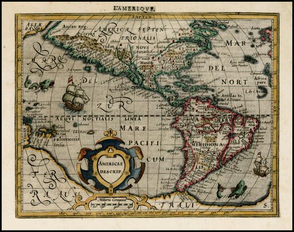 33-Western Hemisphere, South America and America Map By Jodocus Hondius -  Gerard Mercator