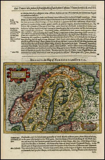28-Scandinavia Map By Jodocus Hondius / Samuel Purchas