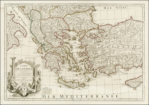 48-Greece, Turkey and Turkey & Asia Minor Map By Jean-Claude Dezauche