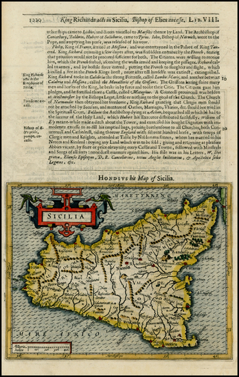5-Italy, Mediterranean and Balearic Islands Map By Jodocus Hondius / Samuel Purchas