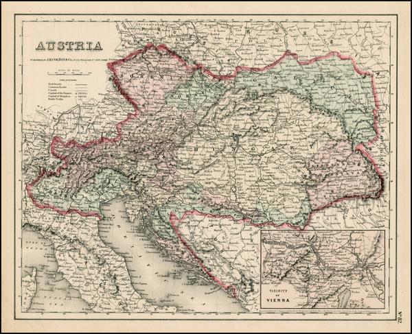 30-Austria Map By Joseph Hutchins Colton