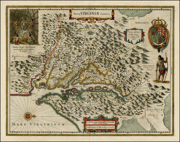 95-Mid-Atlantic and Southeast Map By Henricus Hondius