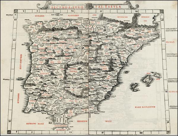 57-Spain and Portugal Map By Bernardus Sylvanus