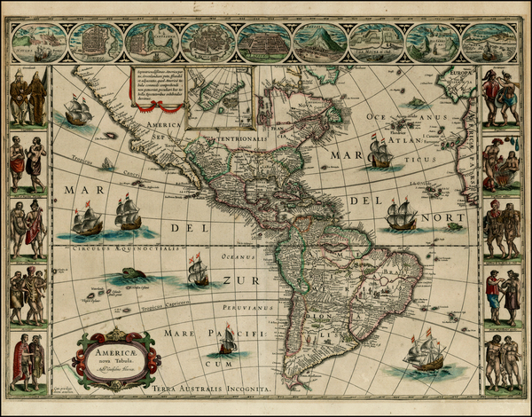 64-North America, South America and America Map By Willem Janszoon Blaeu