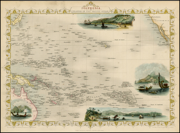 95-Pacific, Oceania, Hawaii and Other Pacific Islands Map By John Tallis