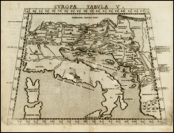 1-Balkans and Italy Map By Girolamo Ruscelli