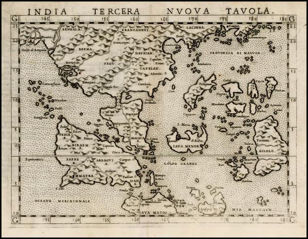 95-China, India and Southeast Asia Map By Girolamo Ruscelli