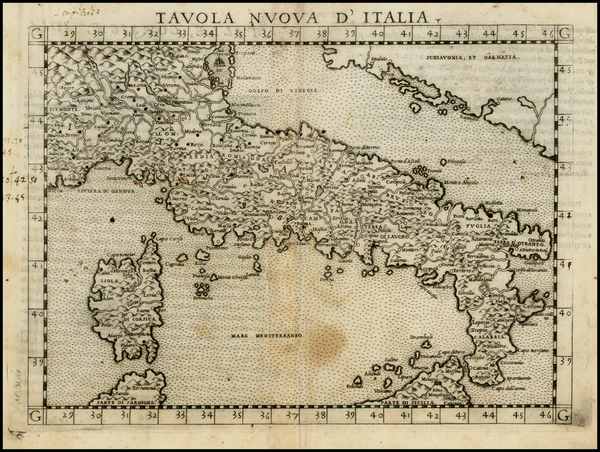 86-Italy and Balearic Islands Map By Girolamo Ruscelli