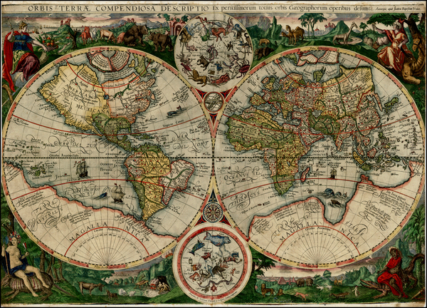 80-World, World, Curiosities and Celestial Maps Map By Johannes Baptista Vrients