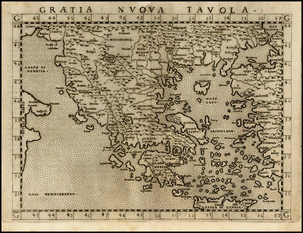 91-Balkans, Greece and Balearic Islands Map By Girolamo Ruscelli