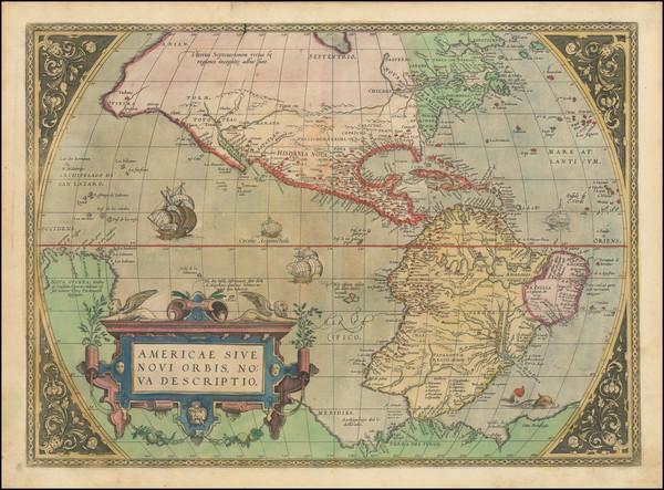 65-Western Hemisphere and America Map By Abraham Ortelius