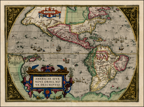 39-Western Hemisphere, North America, South America and America Map By Abraham Ortelius