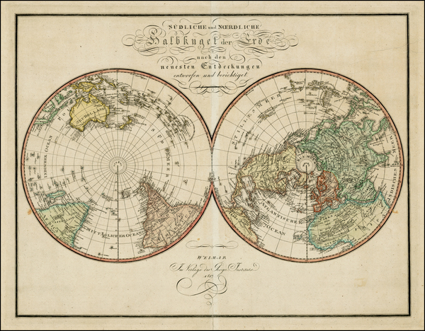 92-World, World, Northern Hemisphere, Southern Hemisphere and Polar Maps Map By Weimar Geographisc