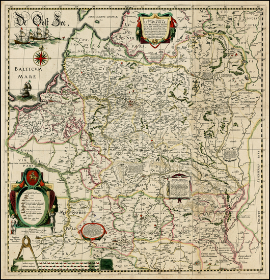 64-Poland, Russia, Ukraine and Baltic Countries Map By Willem Janszoon Blaeu / Hessel Gerritsz