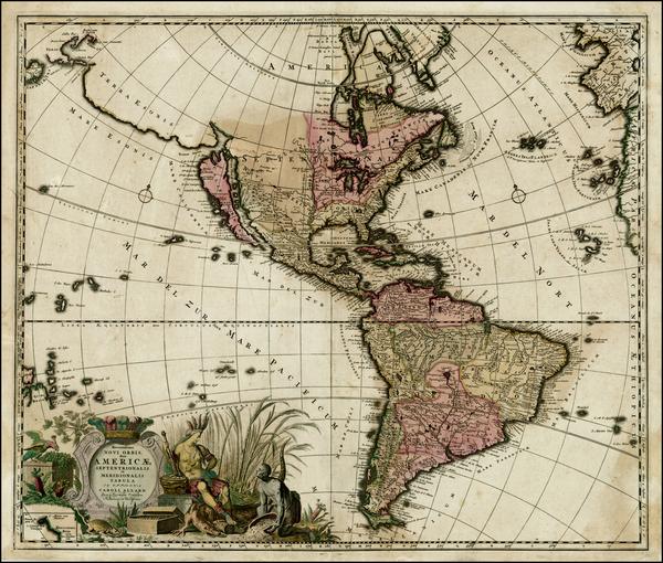 9-South America, New Zealand, California and America Map By Carel Allard
