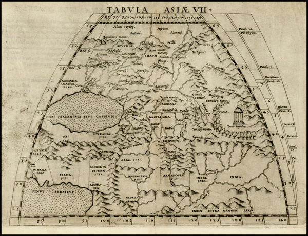 88-Central Asia & Caucasus and Russia in Asia Map By Girolamo Ruscelli