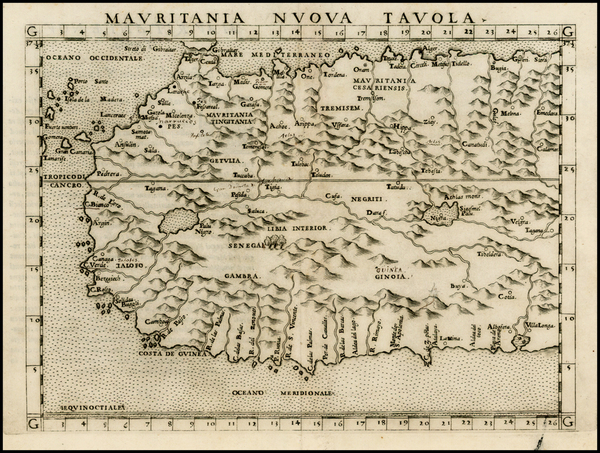2-North Africa and West Africa Map By Girolamo Ruscelli