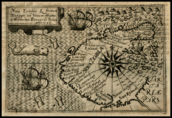 19-Polar Maps, Russia and Scandinavia Map By Henricus Hondius / Willem Barentsz