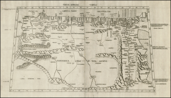 63-Africa, Africa, Egypt and North Africa Map By Claudius Ptolemy / Conrad  Swenheym