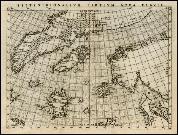52-Polar Maps, Atlantic Ocean, Scandinavia and Balearic Islands Map By Girolamo Ruscelli