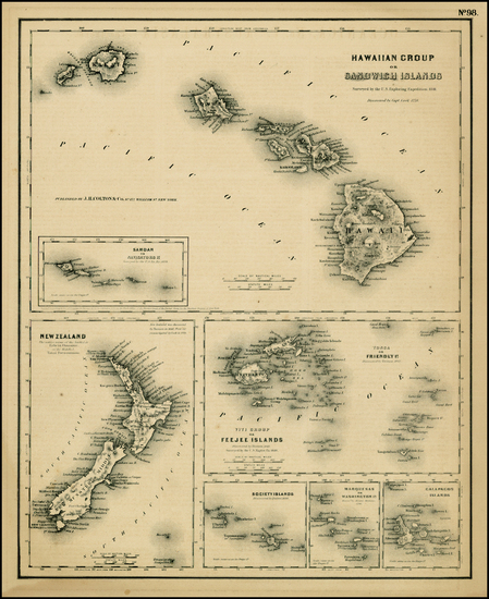 91-Hawaii, Hawaii and Other Pacific Islands Map By Joseph Hutchins Colton