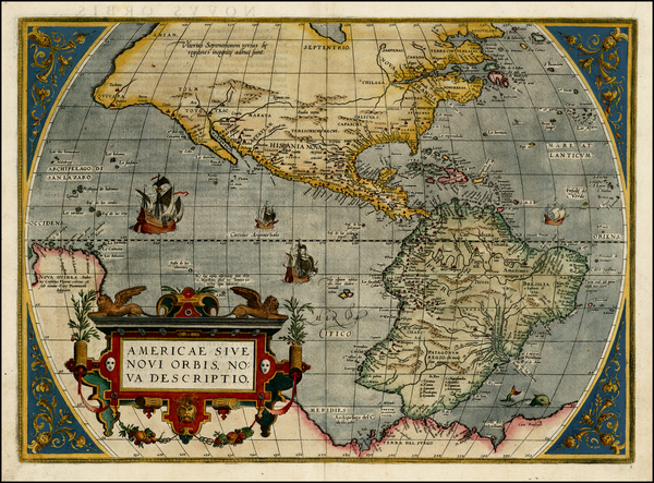 14-Western Hemisphere, South America and America Map By Abraham Ortelius