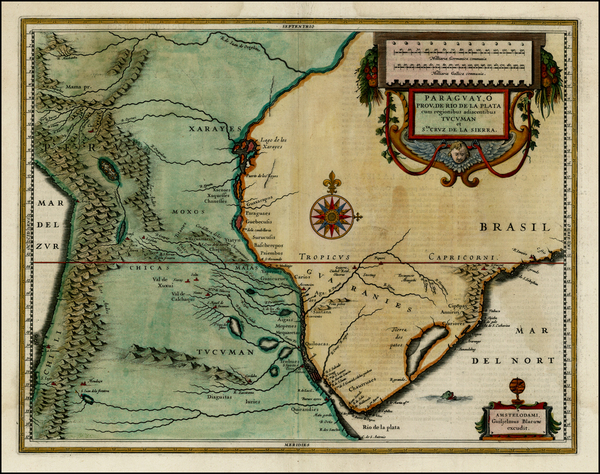 97-Paraguay & Bolivia Map By Willem Janszoon Blaeu