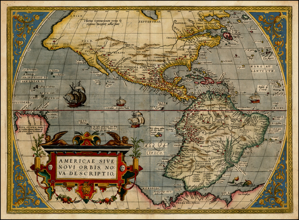 1-Western Hemisphere, South America and America Map By Abraham Ortelius