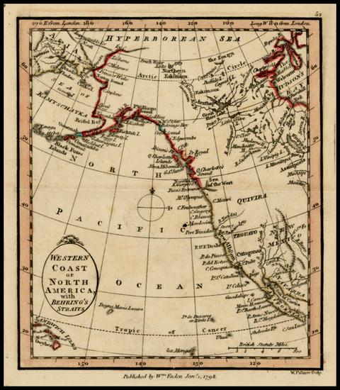 16-Alaska, Hawaii, Canada and California Map By William Faden