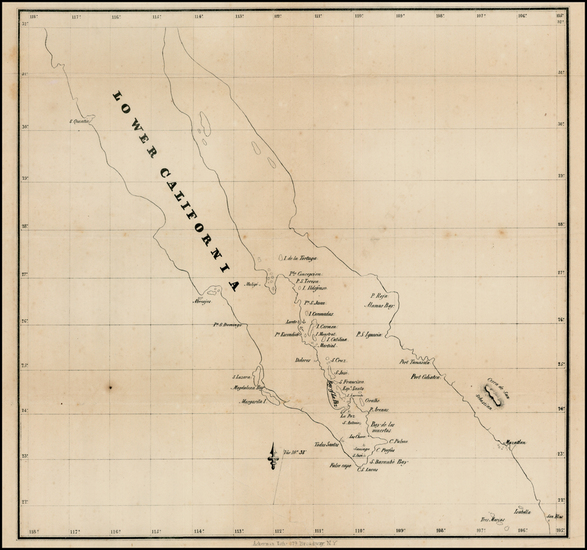 36-Baja California and California Map By Ackerman Lithg.