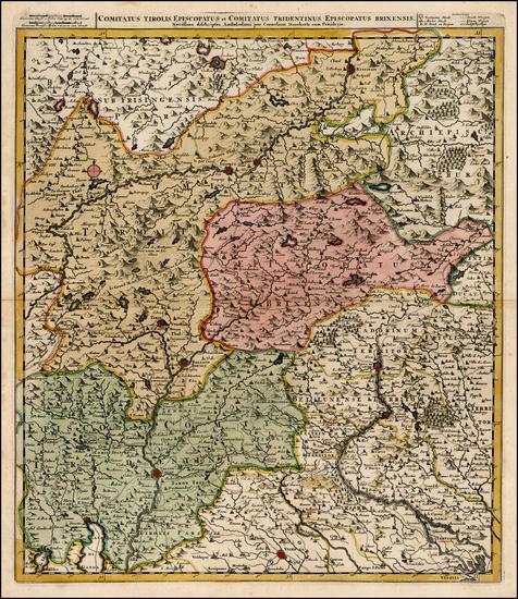 62-Austria and Italy Map By Cornelis II Danckerts
