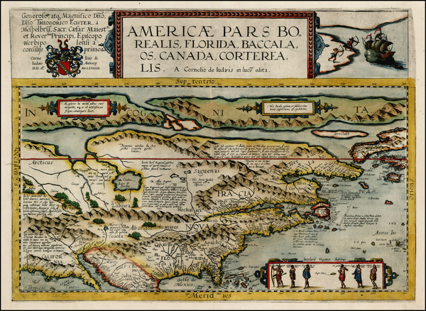 3-Polar Maps, United States and North America Map By Cornelis de Jode