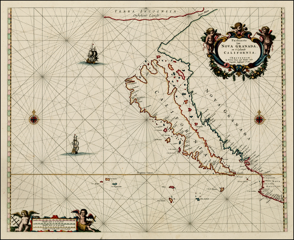 94-Southwest, North America, Baja California, Pacific and California Map By Pieter Goos