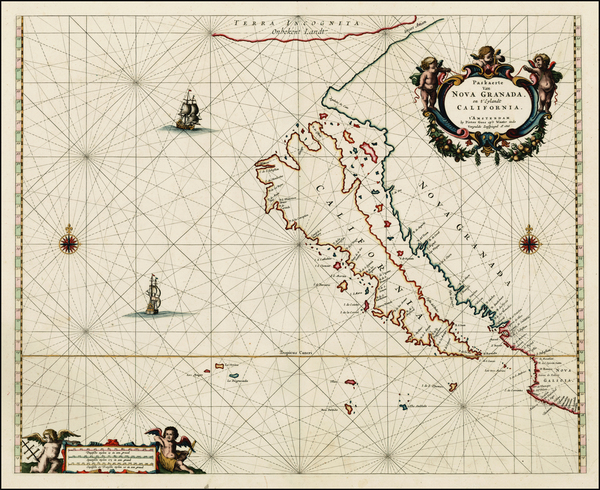22-Southwest, North America, Baja California, Pacific and California Map By Pieter Goos
