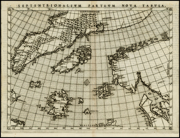 45-Polar Maps, Atlantic Ocean, Scandinavia and Balearic Islands Map By Girolamo Ruscelli