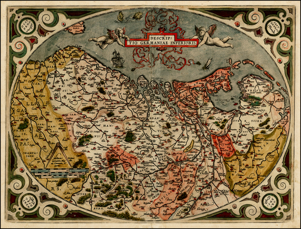 7-Netherlands and Luxembourg Map By Abraham Ortelius