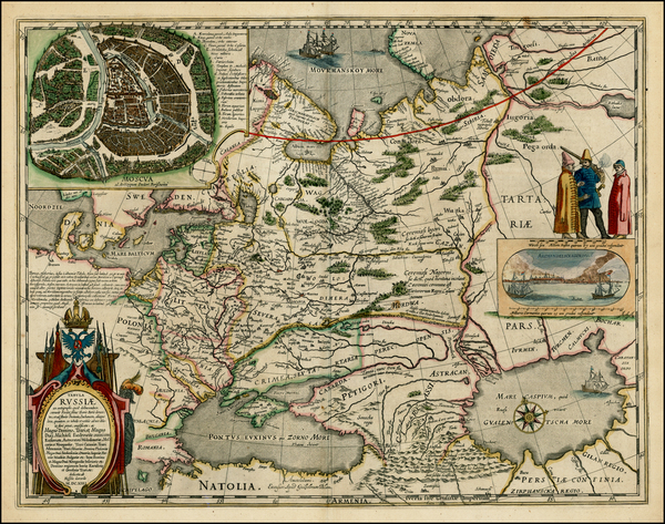85-Poland, Russia, Ukraine, Baltic Countries and Russia in Asia Map By Willem Janszoon Blaeu