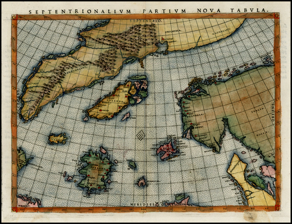 90-Polar Maps, Atlantic Ocean, Scandinavia and Balearic Islands Map By Girolamo Ruscelli