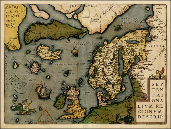 66-Atlantic Ocean, Europe, British Isles, Scandinavia and Balearic Islands Map By Abraham Ortelius