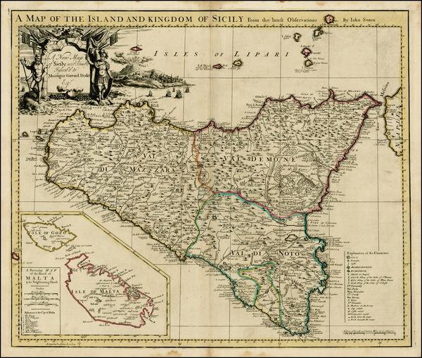 41-Italy, Balearic Islands, Malta and Sicily Map By John Senex