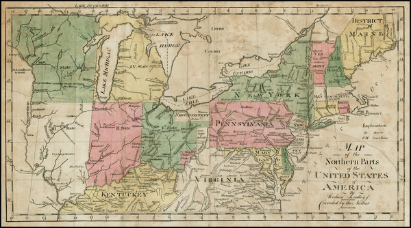 89-New England, Southeast and Midwest Map By Abraham Bradley
