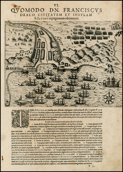 68-World, Atlantic Ocean and African Islands, including Madagascar Map By Theodor De Bry / Baptist
