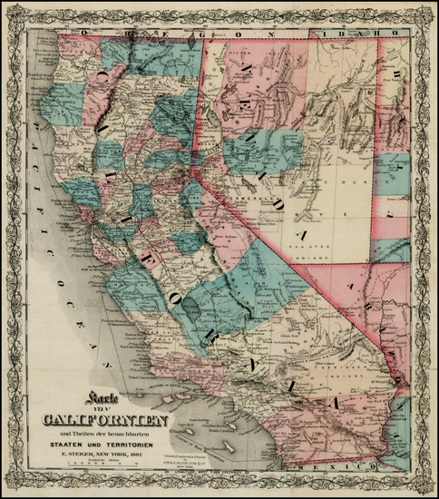 45-California Map By G.W.  & C.B. Colton / E. Steiger