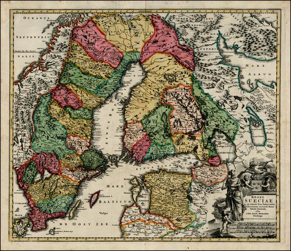 45-Baltic Countries and Scandinavia Map By Johann Baptist Homann
