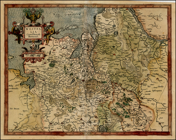56-Netherlands and Germany Map By  Gerard Mercator