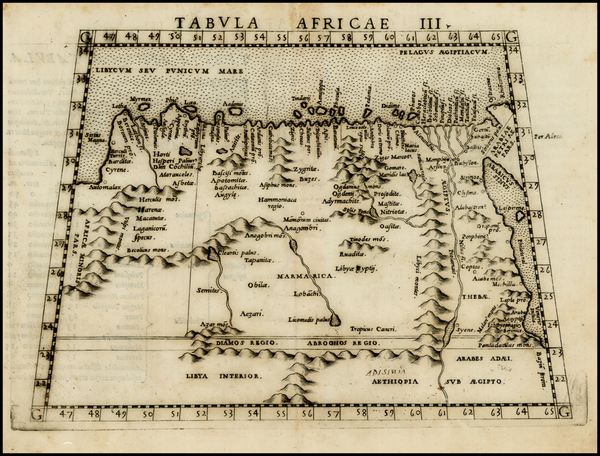 19-Egypt and North Africa Map By Girolamo Ruscelli