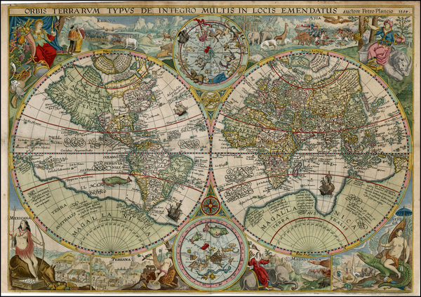 15-World, World, Curiosities and Celestial Maps Map By Petrus Plancius