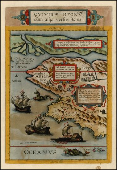 73-Polar Maps, Alaska, Canada, Pacific and California Map By Cornelis de Jode